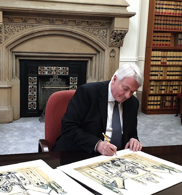 The Right Honourable the Lord Burnett of Maldon signing the limited edition print Royal Courts of Justice